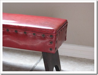 Vinyl Red Footstool by MyVintageFix on Etsy