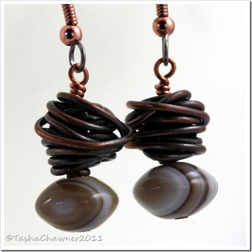 Recycled Copper Coil & Banded Agate Bead Earrings_11