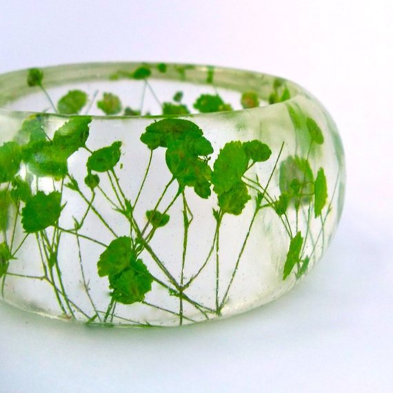 Green Botanical Statement Bangle