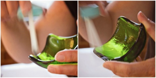 apply decoupage glue to insides of glass bowl