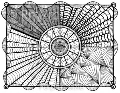 Detailed zentangle doodle colour in