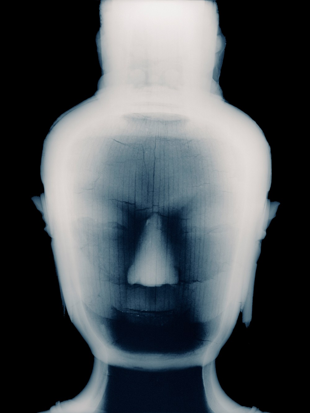 xray photograph of Buddha head