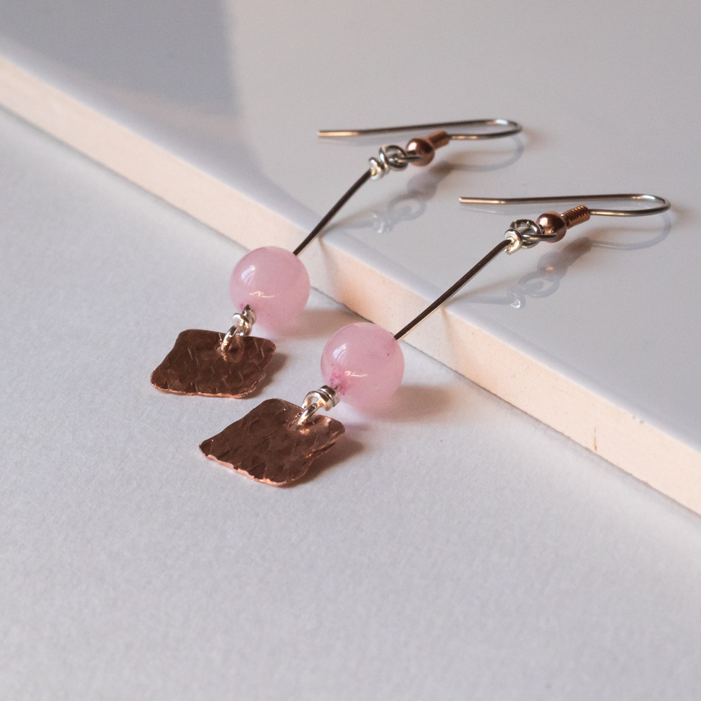 Hammered Copper & Rose Quartz Earrings: \'Be Still as the Mountain ...