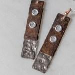 contemporary copper and titanium earrings