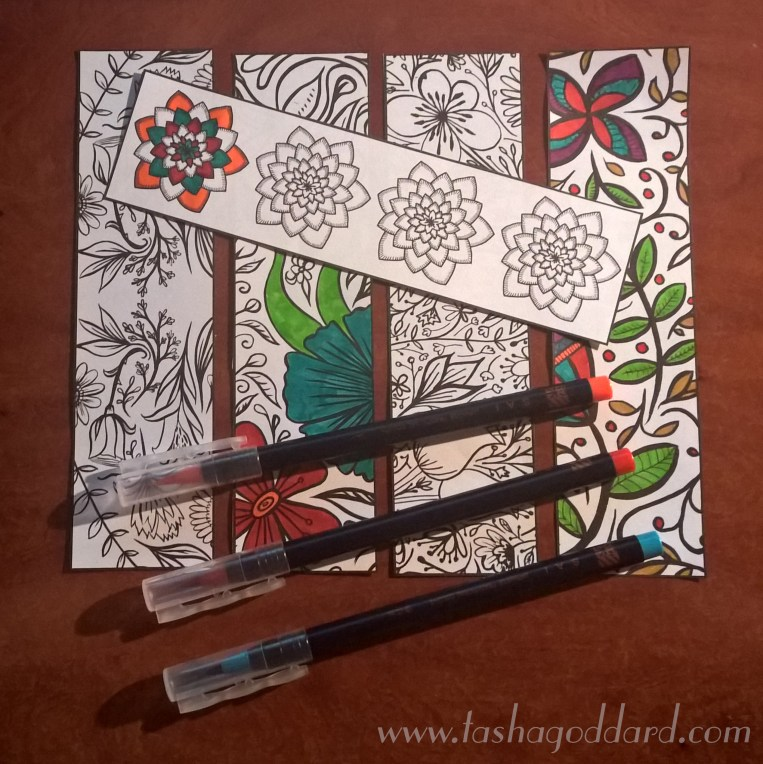 Coloured-in Floral Colouring Bookmarks | © Tasha Goddard | www.tashagoddard.com