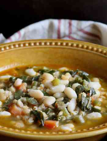 White Bean, Barley & Mustard Greens Soup