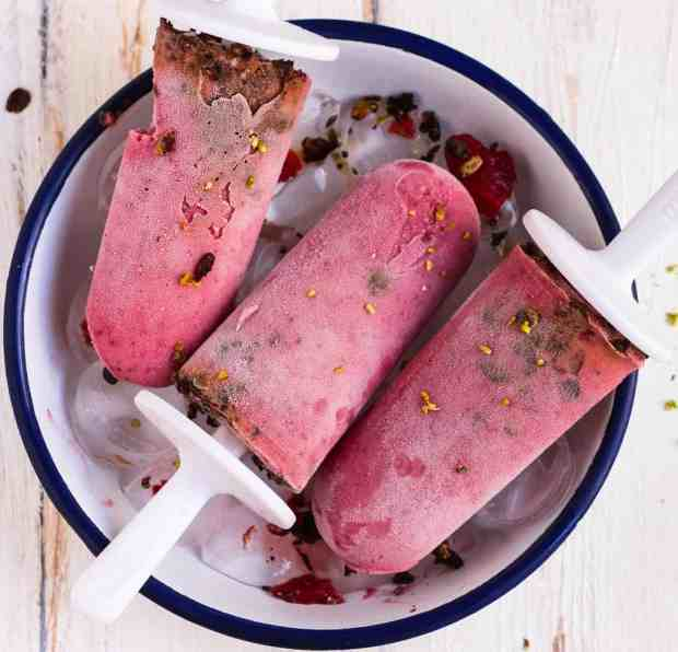 Plum and Granola Popsicles