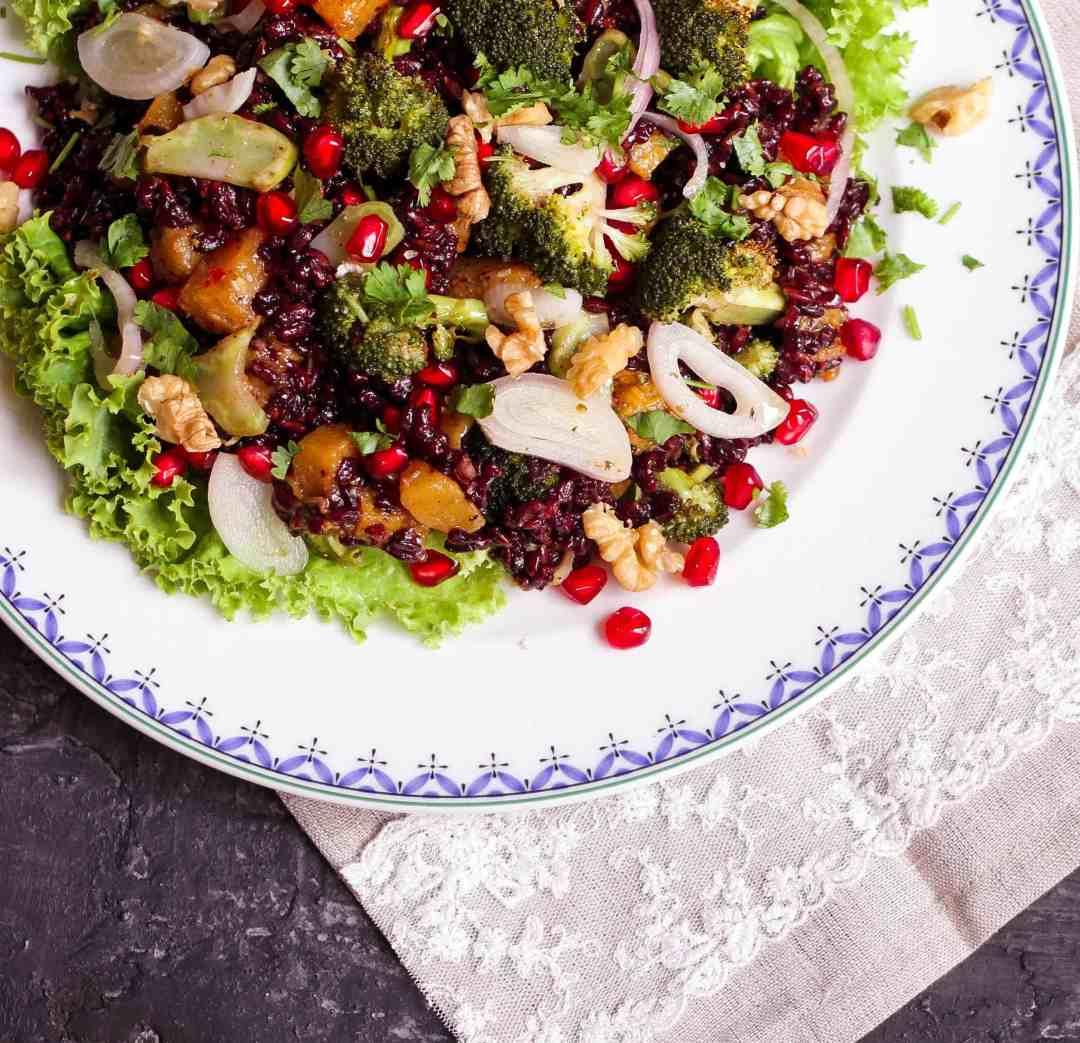 Warm Black Rice Broccoli Pumpkin Salad vegan, healthy, glutenfree, Thanksgiving, Christmas, Easy entertaining, Easy recipe