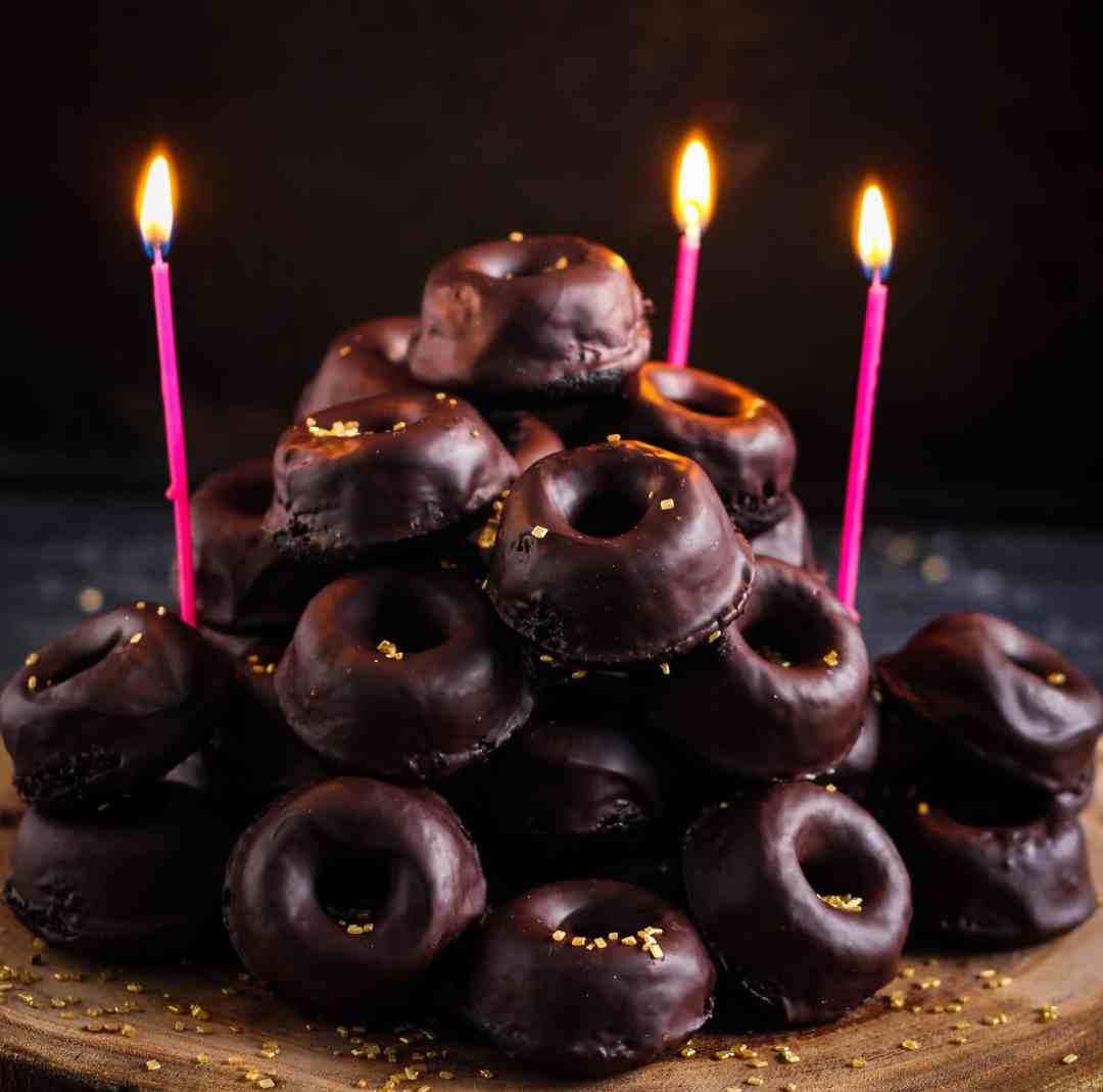 Mini Baked Chocolate Donuts glutenfree, dessert treat, buckwheat,valentine's treat