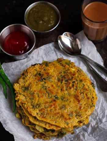 Besan Cheela w/ Purslane served with Raw Mango Mint Chutney And Tomato Ketchup brunch vegan, healthy, glutenfree