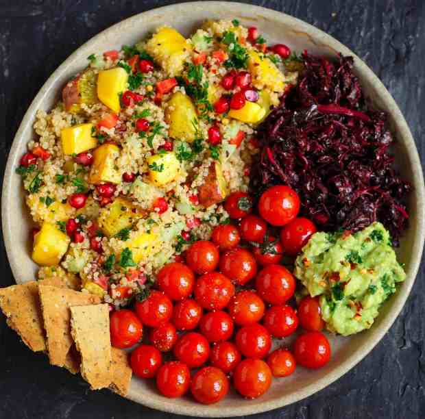 Quinoa Sweet Potato Mango Salad vegan healthy pomegranates vegetarian main dish summer