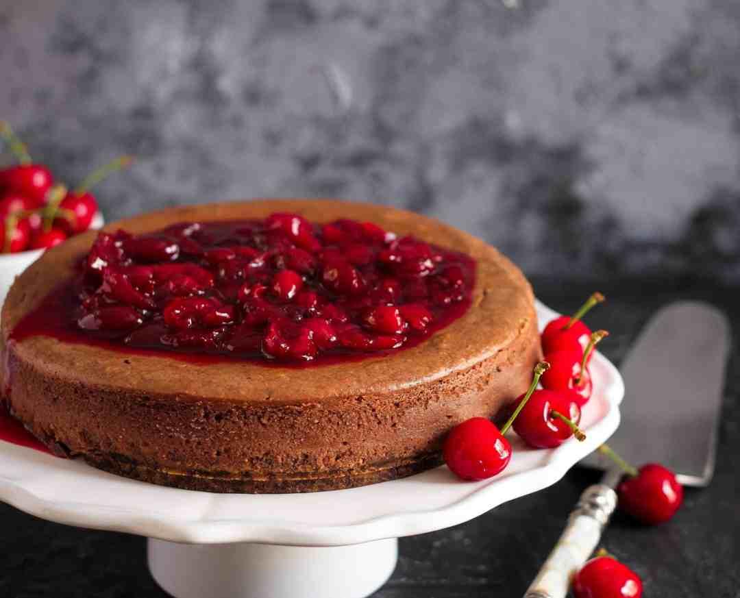 Chocolate Hazelnut Cheesecake w/ red wine cherry sauce   Dessert