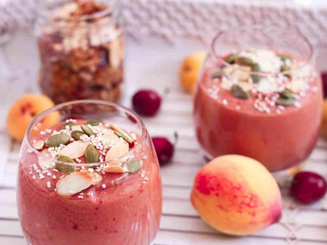 Apricot Mango Cherry Smoothie healthy breakfast easy recipe yogurt nourish summer