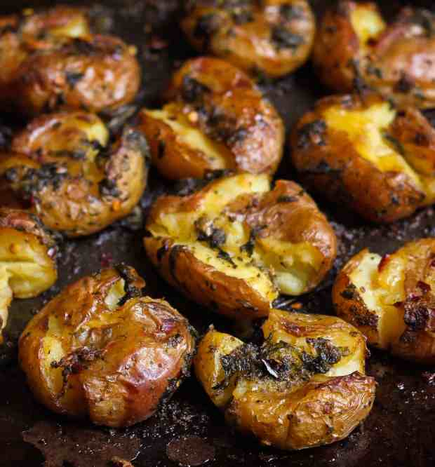 Garlic Basil Smashed Potatoes vegan glutenfree healthy