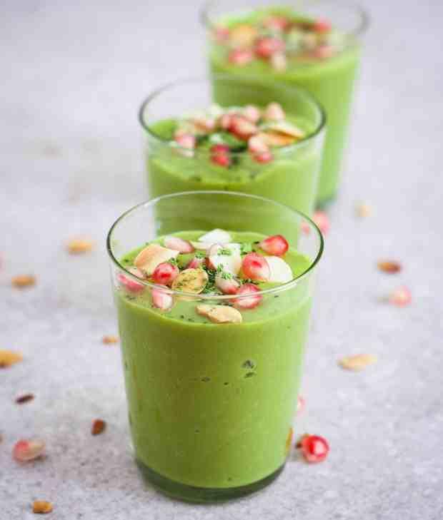 Mango Matcha Smoothie vegan healthy breakfast avocado refined sugarfree