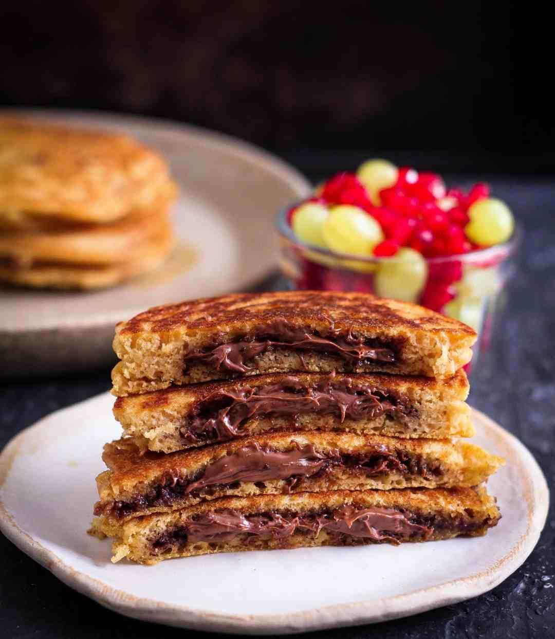 Chocolate Stuffed Pancakes breakfast wholegrain cooking