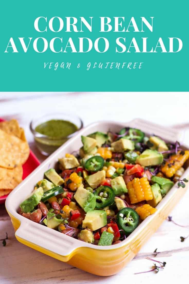 Corn Bean Avocado Salad easy healthy vegan recipe