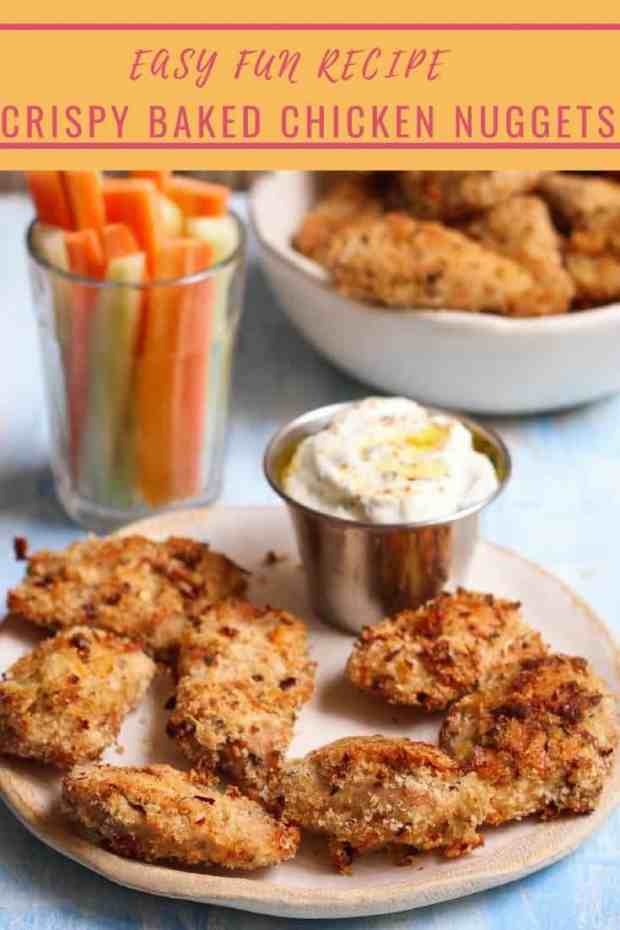 Crispy Baked Chicken Nuggets easy healthy Kid friendly recipe