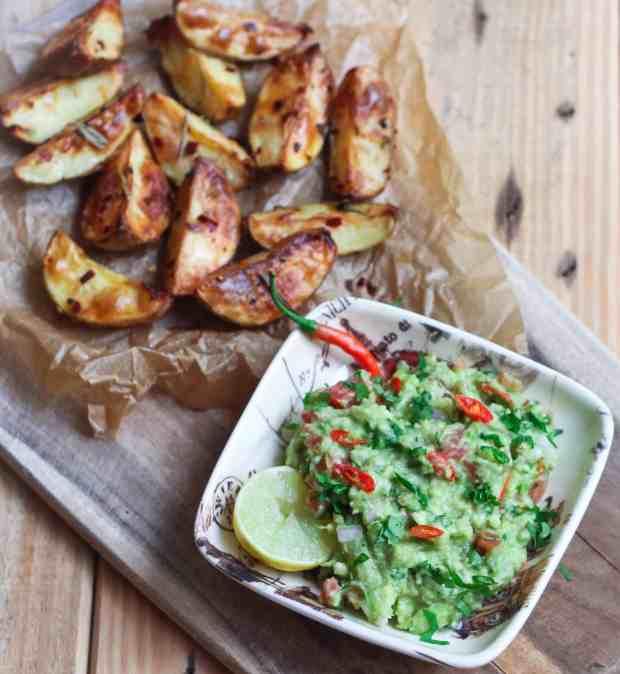 Guacamole with Roast Potatoes vegan healthy easy snacking