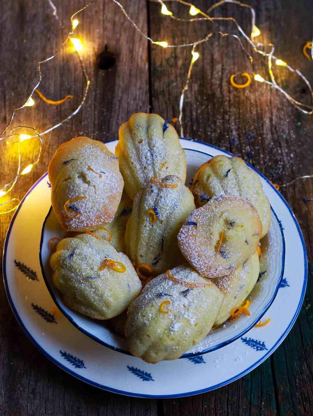 Orange Madeleines | Dried Blue Cornflowers French cake