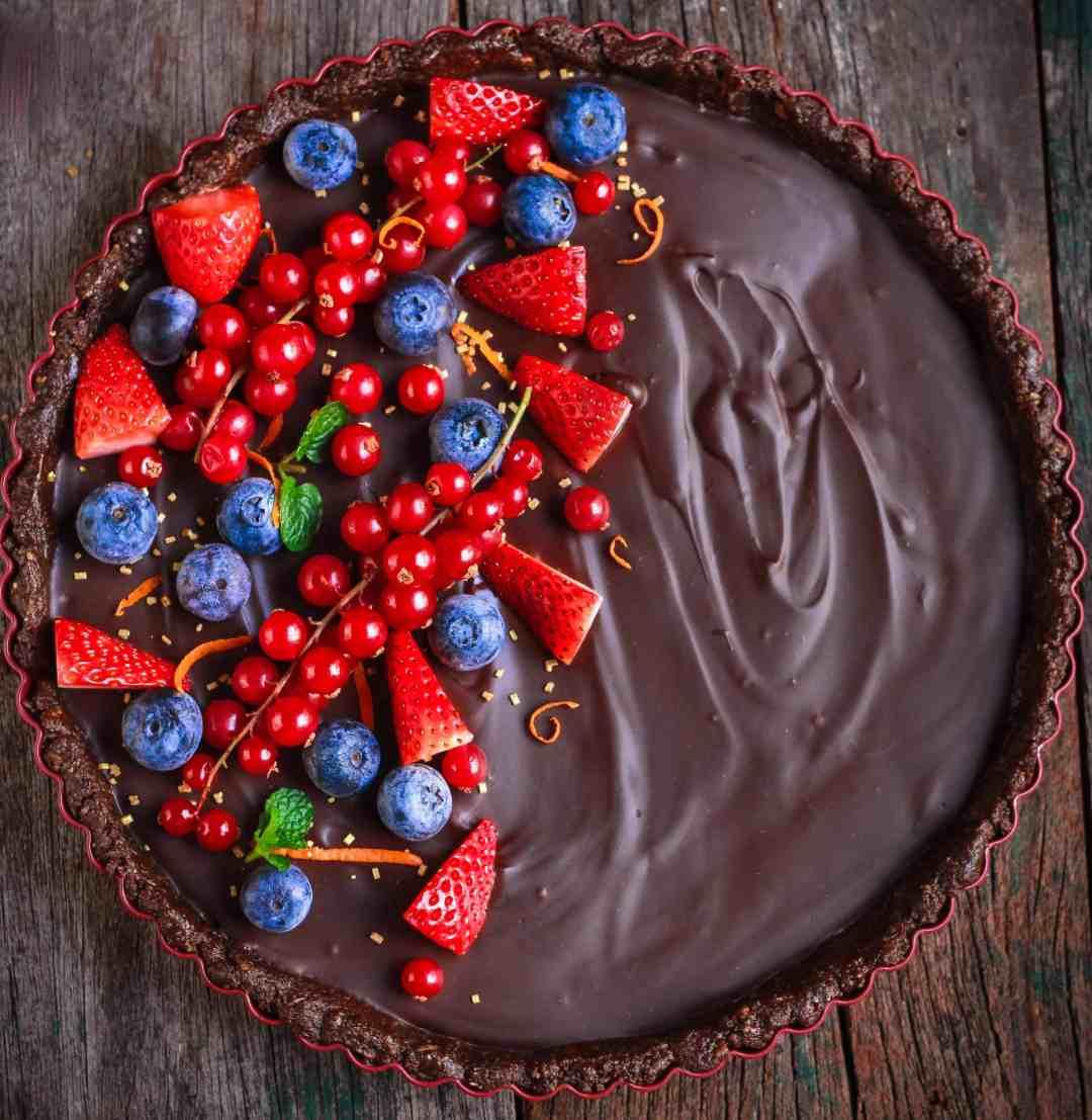 Chocolate Orange Tart no-bake vegan refined sugar free dessert