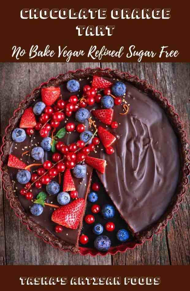 Chocolate Orange Tart no-bake vegan refined sugar free dessert