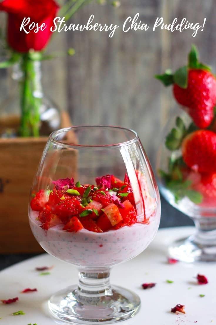 Rose Strawberry Chia Pudding easy healthy glutenfree recipe