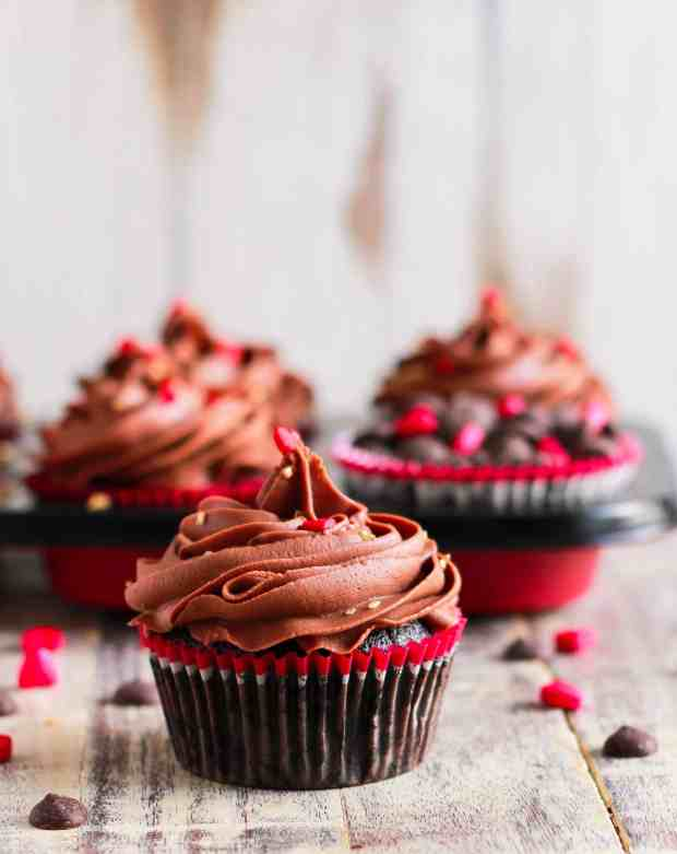 Mocha Cupcakes with Chocolate Cream Cheese Frosting infused with Baileys Glutenfree