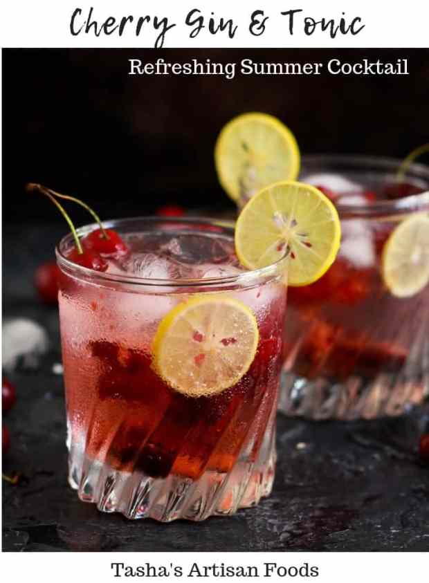 Cherry Gin And Tonic refreshing summer cocktail