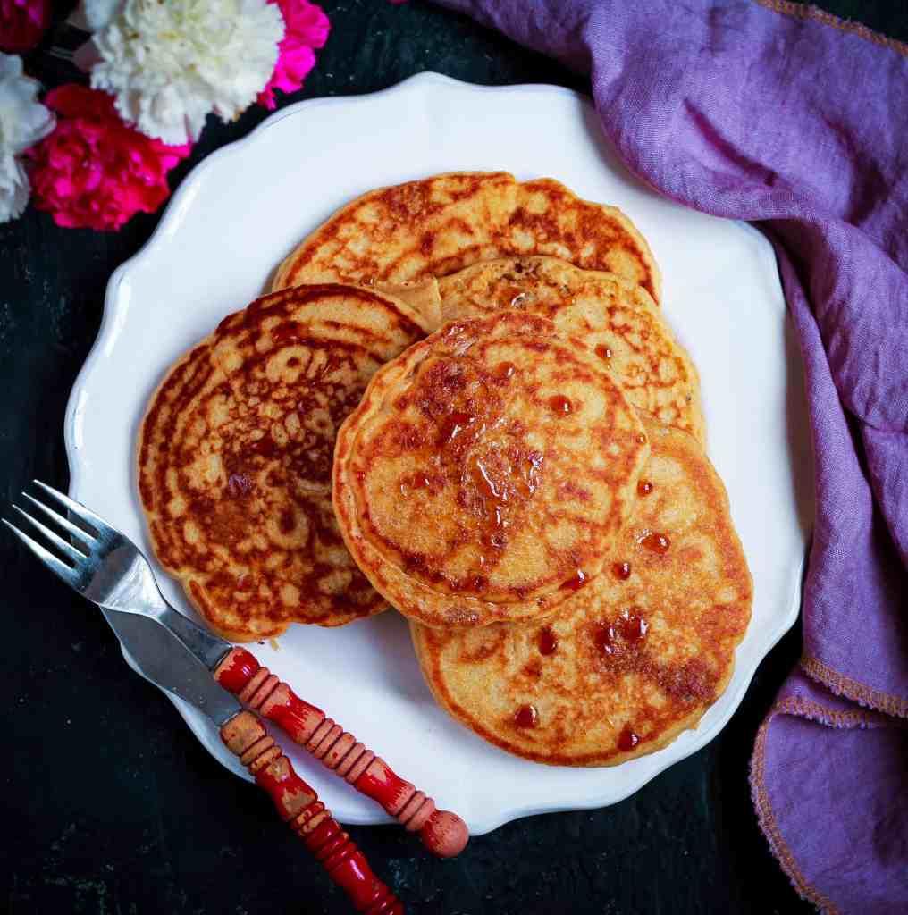 Fluffy Cinnamon Pancakes  easy eggless breakfast/ brunch recipe