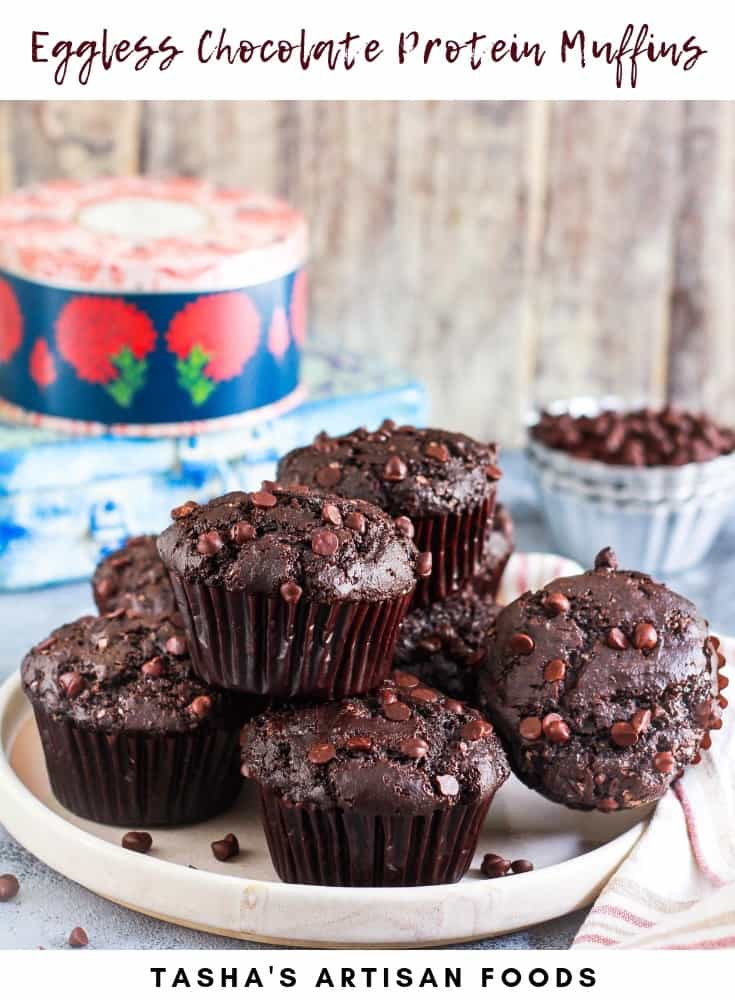 Eggless Chocolate Protein Muffins