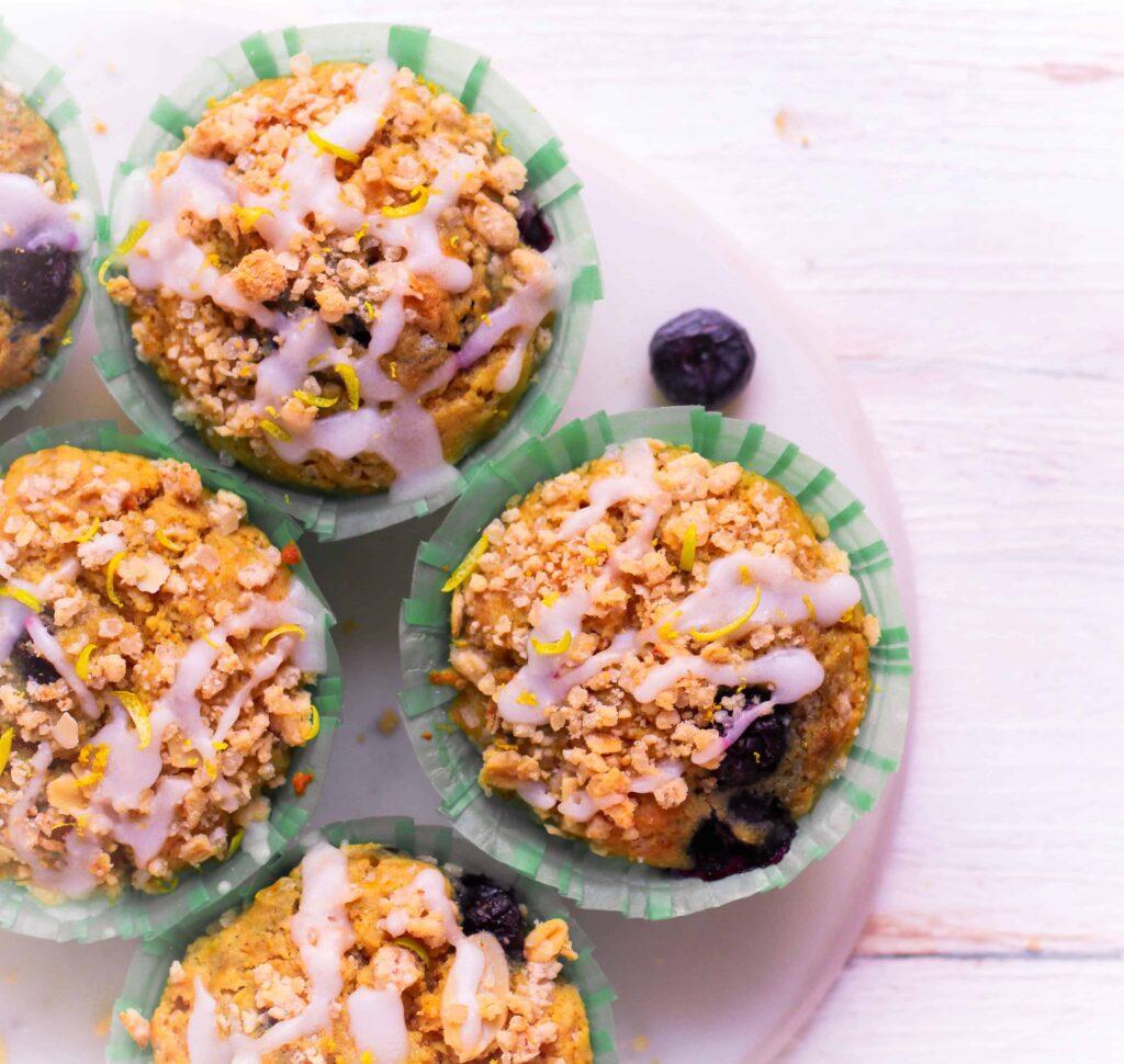 Vegan Blueberry Lemon Muffins  easy eggless wholegrain baking