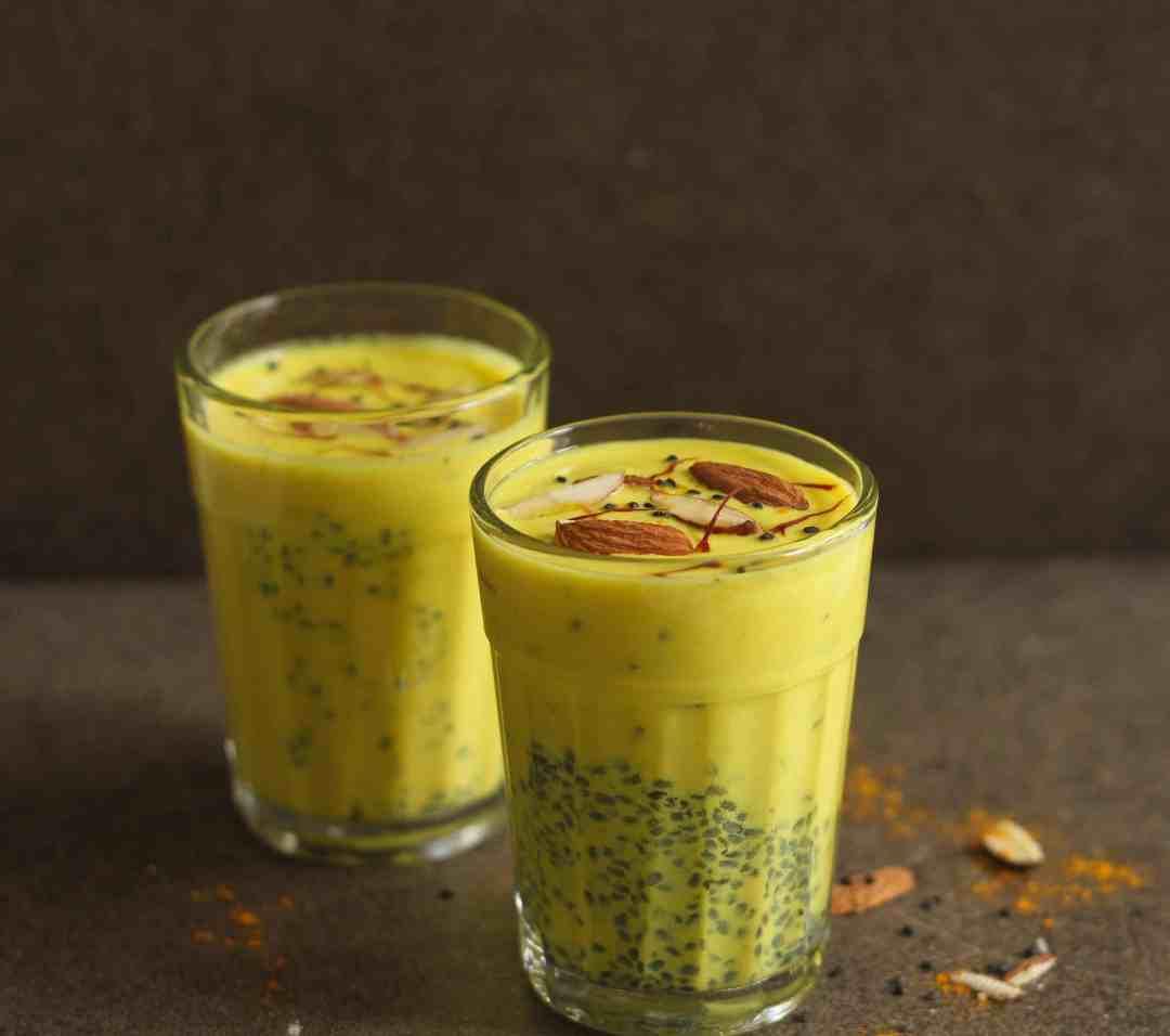 Turmeric Milk with Sabja ( Holy Basil ) Seeds