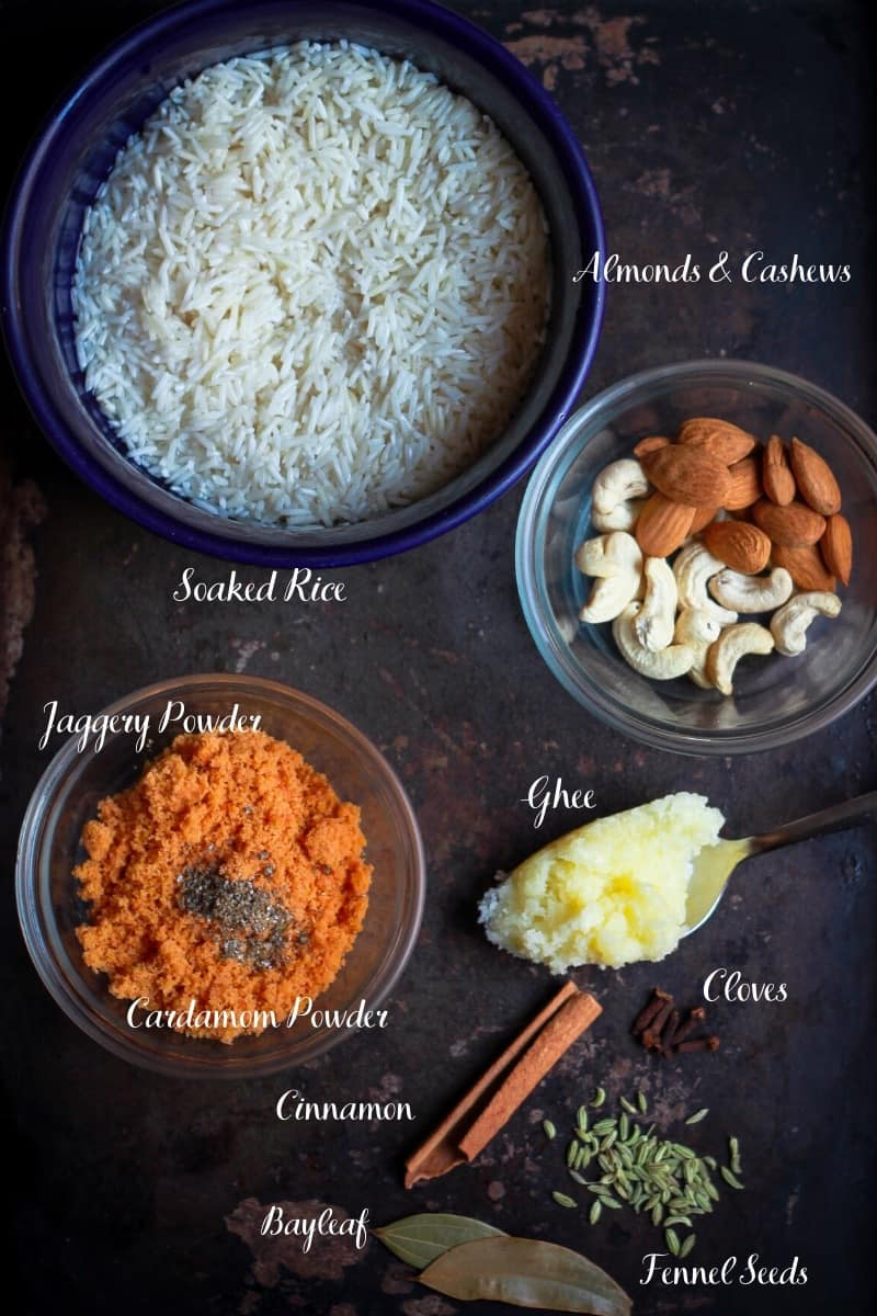 Ingredients for making Jaggery Rice Gur Wale Chawal Indian Festive Dessert