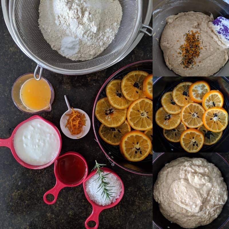 process of making Orange Upside down Cake