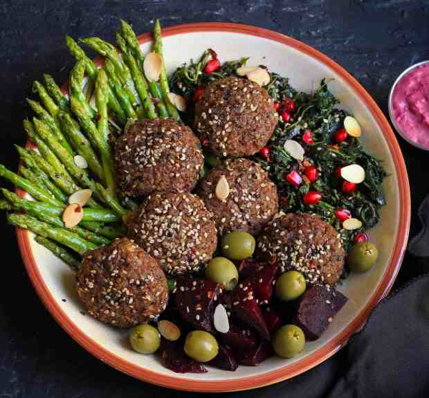 Simple Baked Red Rice Falafels with beetroot hummus