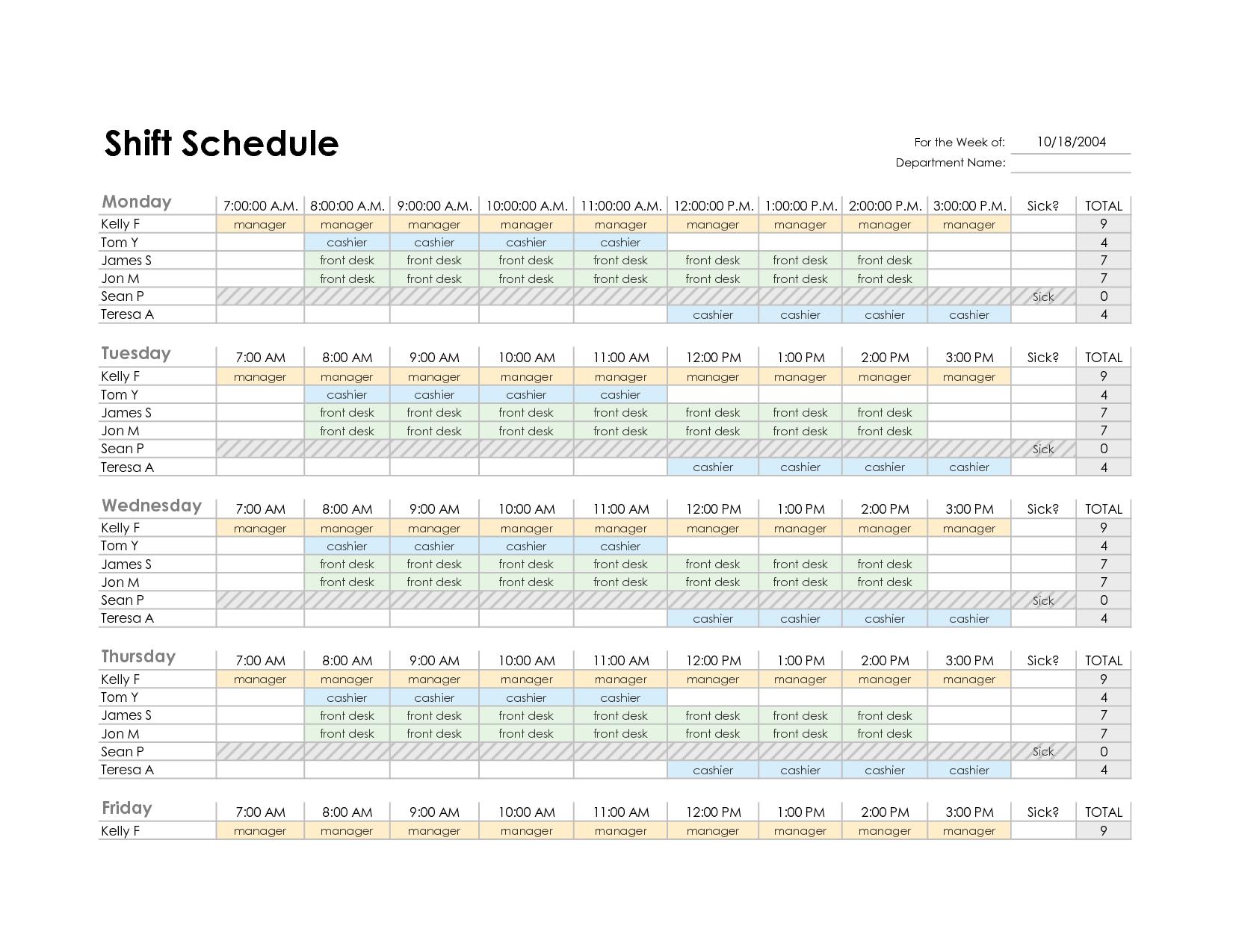 Excel Employee Schedule Template Task List Templates