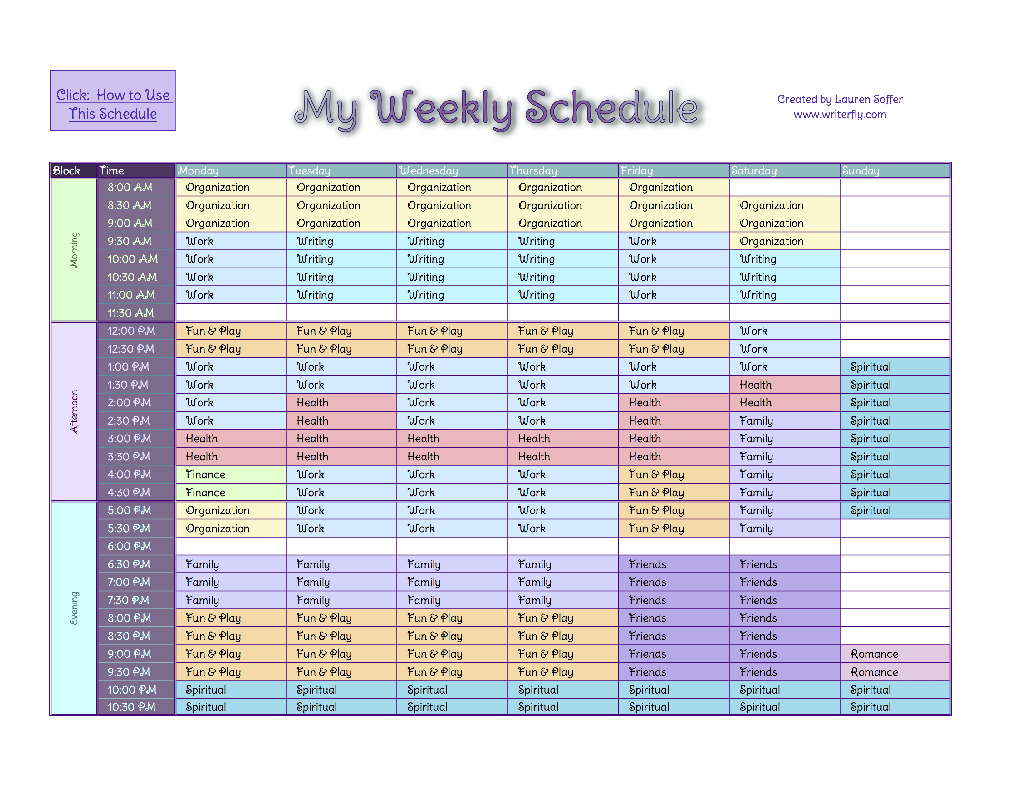 Time Management Schedule Template Task List Templates