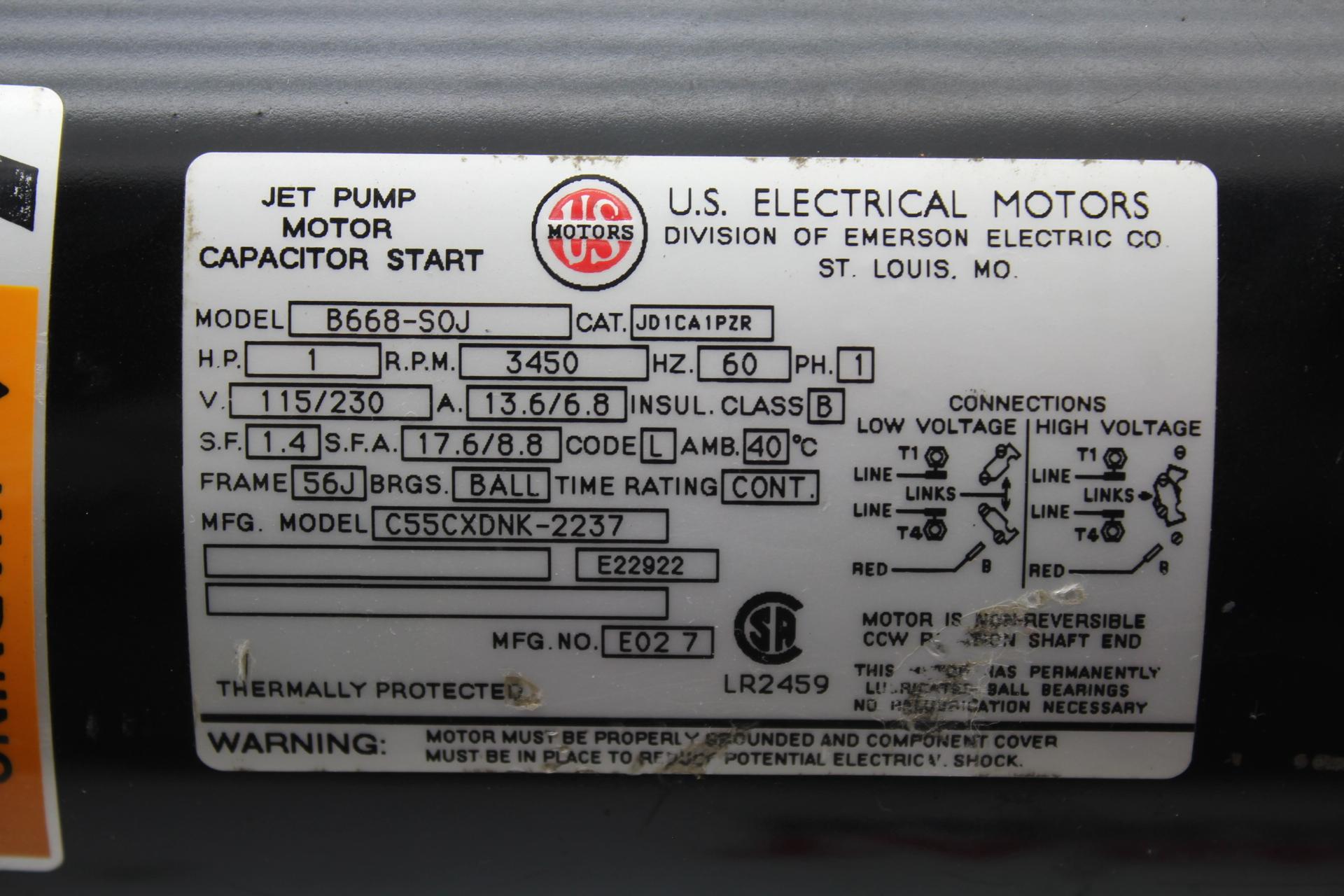 Us motors jet pump model b668 s0j 1 hp 3450 rpm 56j frame 3 ph motor publicscrutiny Image collections