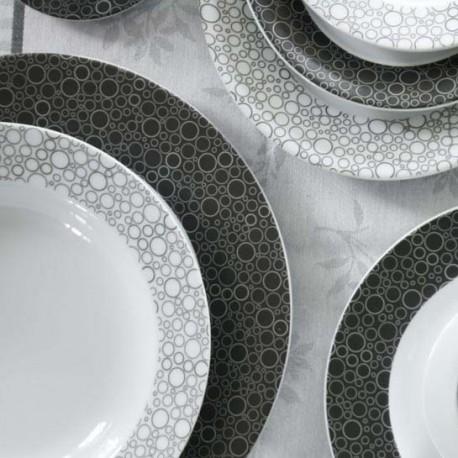 tasse assiette service complet de vaisselle en porcelaine black or white 21 pieces