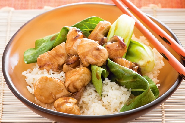 Honey chicken with pak choy