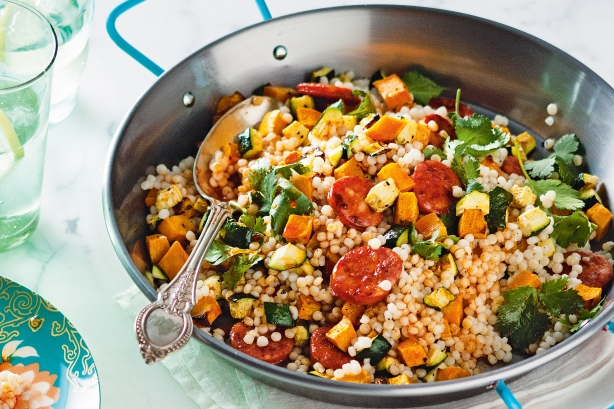 Pearl couscous with roasted pumpkin and chorizo