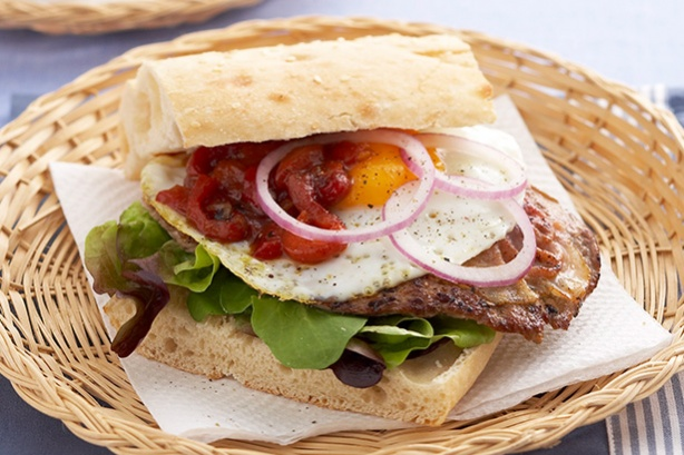 Saltimbocca and capsicum chutney sandwiches