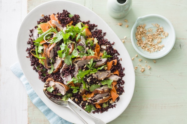Barbecue duck salad with pickled vegetable salad and black rice