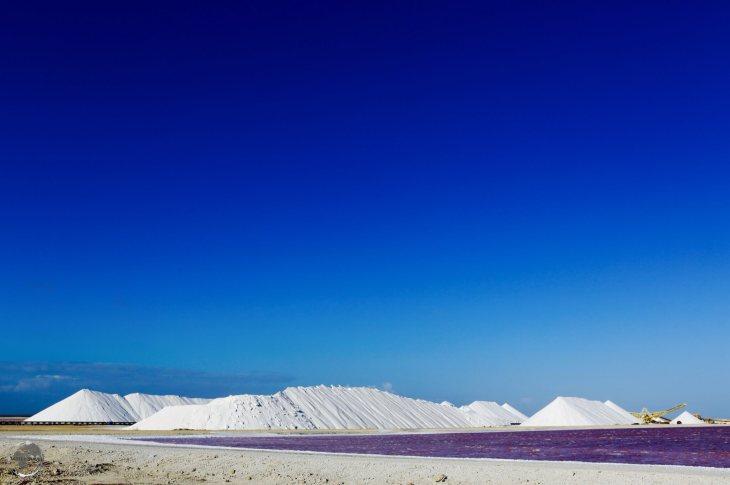 Salt piles at the Cargill salt mine, Bonaire.