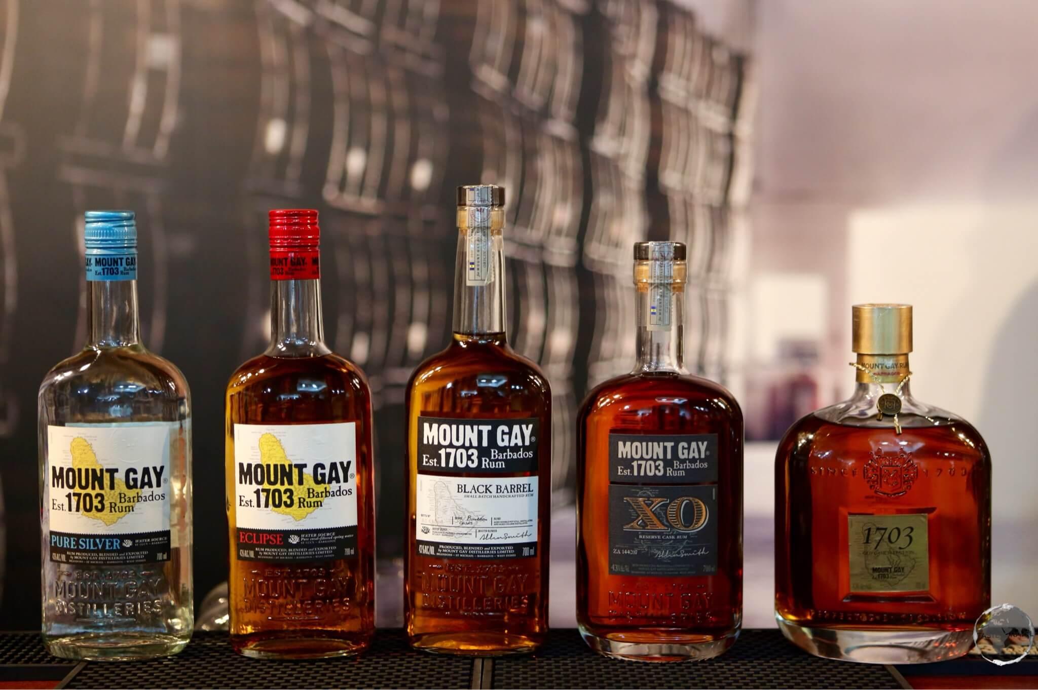 Mount Gay rum product range.