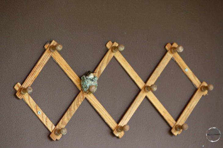 A coat rack serves as a nesting site for a Scintillant hummingbird at Finca Lerida.