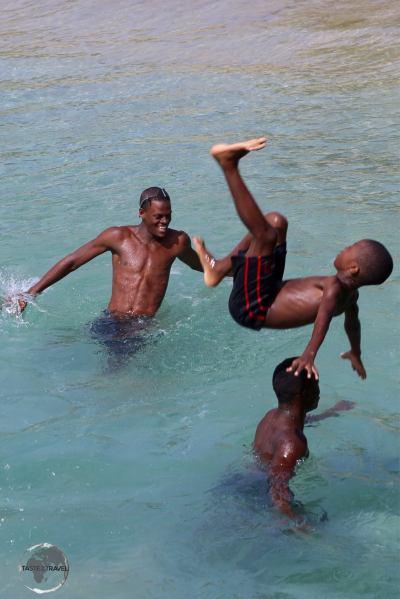 Local boys enjoying the pristine waters on Mayreau Island.