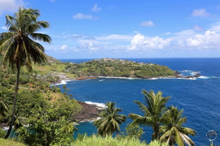 A view of the hilly north-east coast of St. Vincent island.