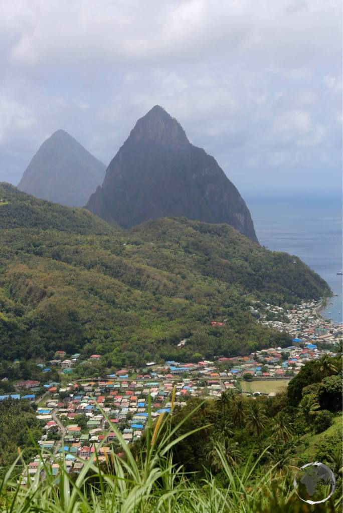 View of Soufrière with the Pitons.